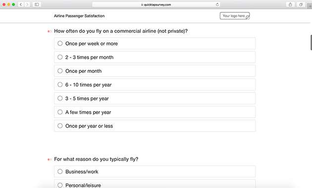 online airline satisfaction survey template quicktapsurvey