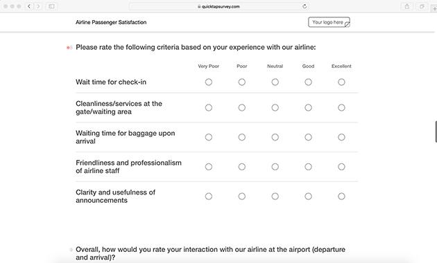 online airline satisfaction survey template quicktapsurvey
