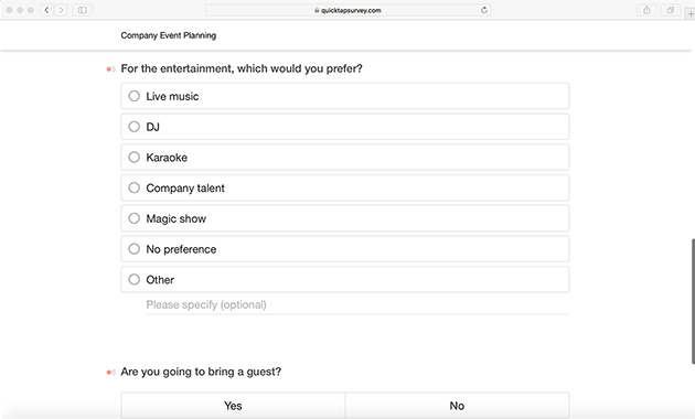 company event planning survey template