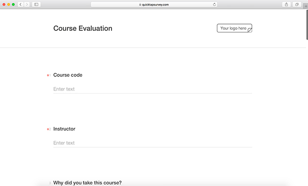 Online Course Evaluation Survey Template  Quicktapsurvey