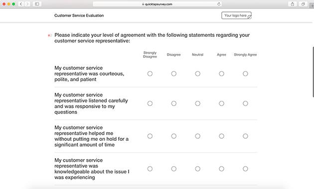 Customer Evaluation Survey Template   QuickTapSurvey