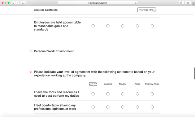 Online Employee Satisfaction Survey Template  Quicktapsurvey