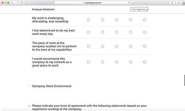 Employee Survey Template | Employee Satisfaction Survey Template Quicktapsurvey