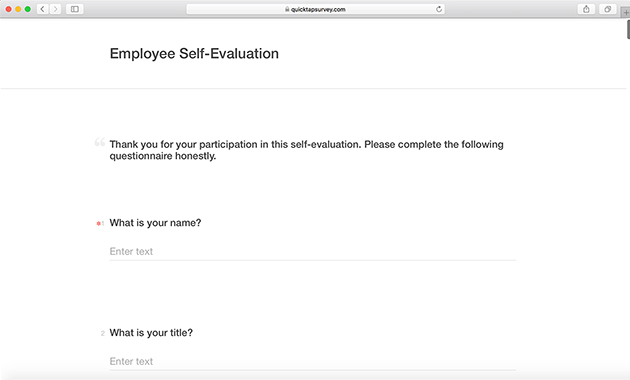 Employee Self Evaluation Survey Example