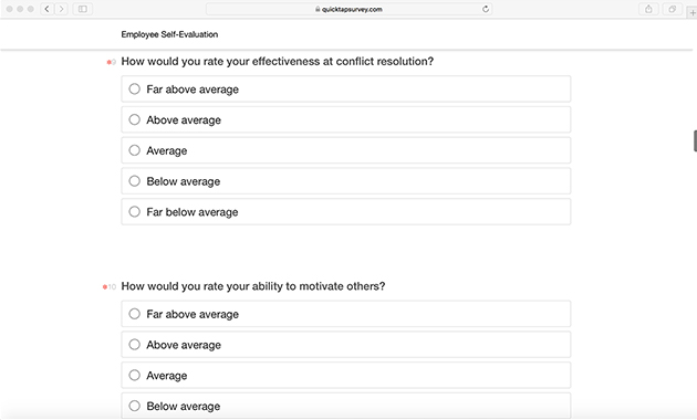 Employee Self Evaluation Template Quicktapsurvey