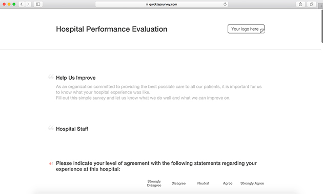 Hospital Performance Evaluation Survey Template