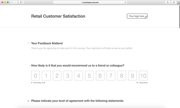Retail Customer Satisfaction Survey Template