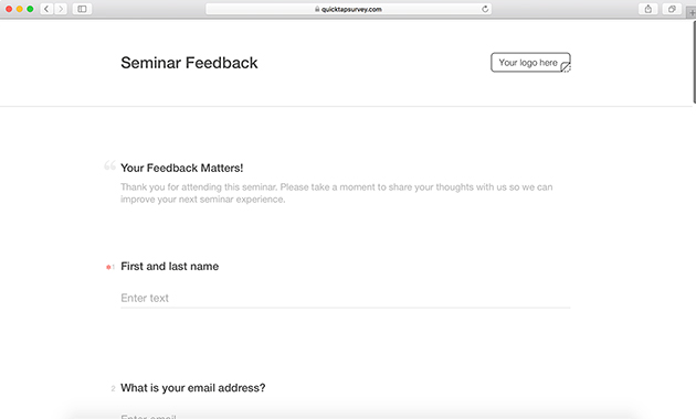 Seminar feedback template quicktapsurvey seminar feedback survey template maxwellsz