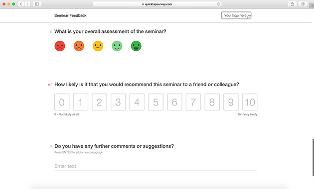 Seminar feedback survey template quicktapsurvey seminar feedback survey template maxwellsz