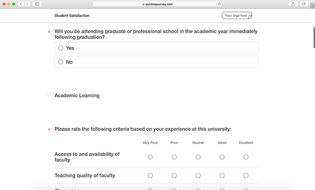 Student Satisfaction Survey Template | QuickTapSurvey
