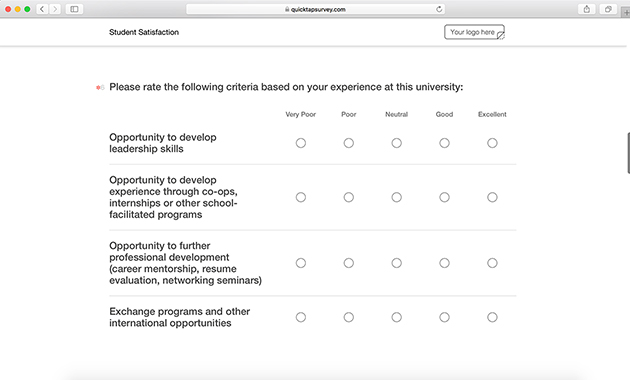Student satisfaction survey template quicktapsurvey for Student satisfaction questionnaire template