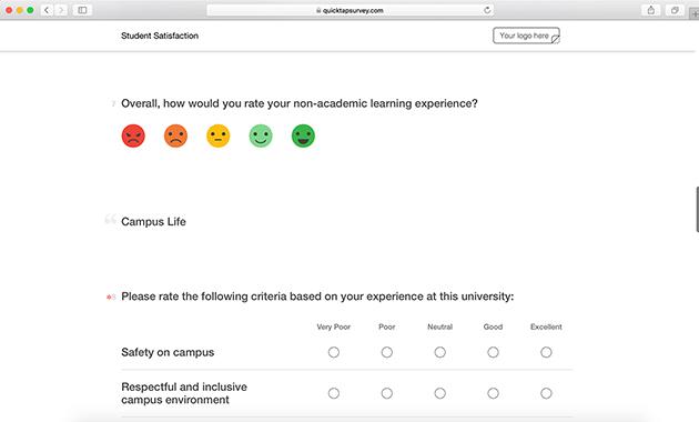 student satisfaction survey template quicktapsurvey
