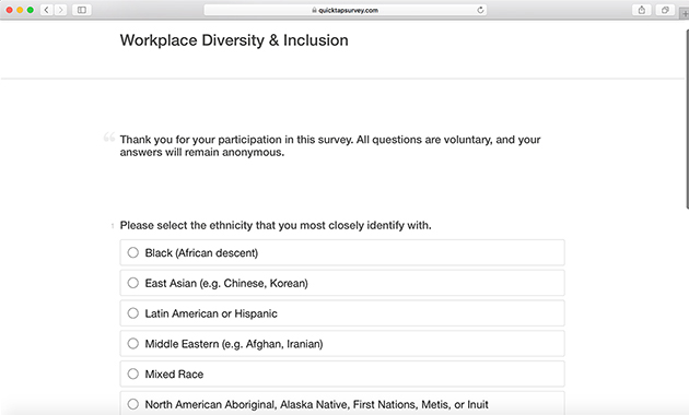 workplace diversity survey template quicktapsurvey