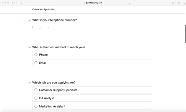 Job Application Online >> Job Application Survey Template For Online Applications Quicktapsurvey