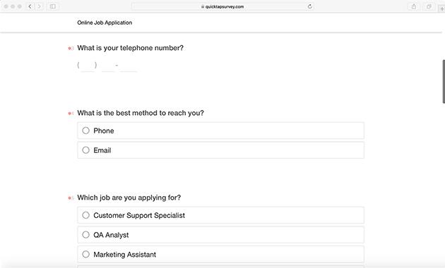 job application survey template for online applications. Black Bedroom Furniture Sets. Home Design Ideas