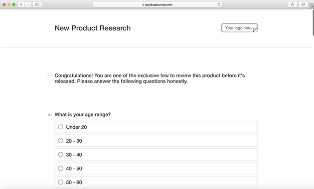 Online Product Research Survey Template