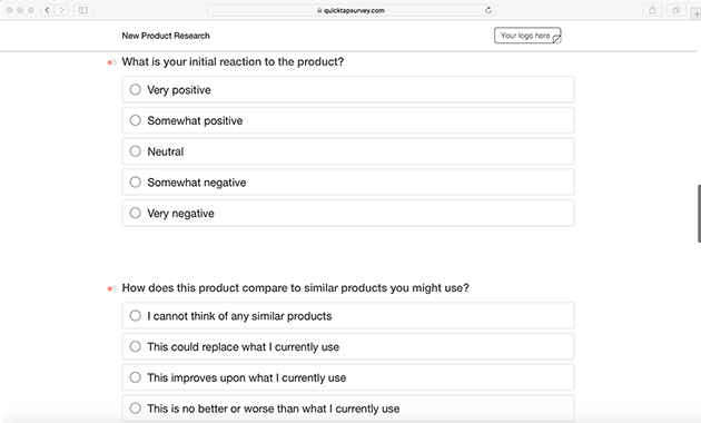 product survey template