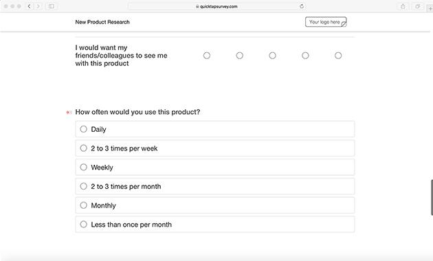 online product research survey template quicktapsurvey
