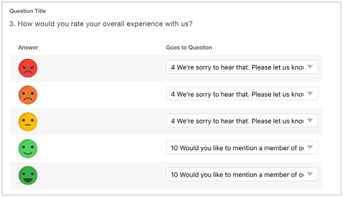 Skip logic creation for surveys