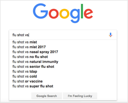 Using google autocomplete for content ideas